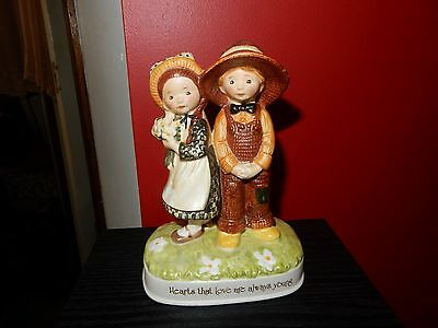 Vintage Holly Hobbie  Porcelain Figurine Hearts That Love Are Always Young