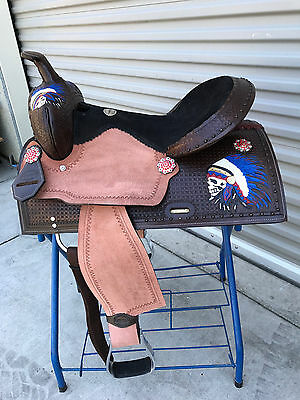 """16"""" New Leather Barrel/Pleasure Western Saddle WithRed,White&Blue Indian"""