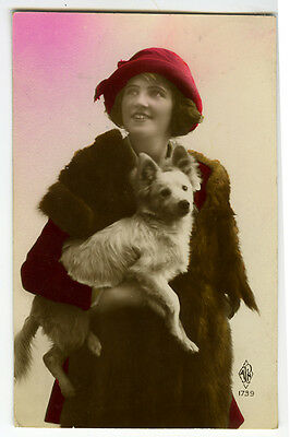 1920's Pretty Lady BEAUTY w/ White DOG tinted French photo postcard