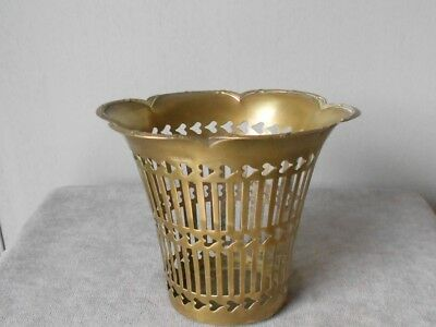 French Vintage BRASS PETITE BASKET PLANTER   CHIC