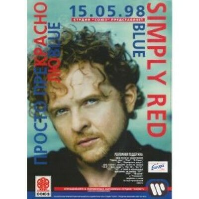 SIMPLY RED Blue FLYER Russian 1998 A4 Size Full Colour Promo Flyer For Russian