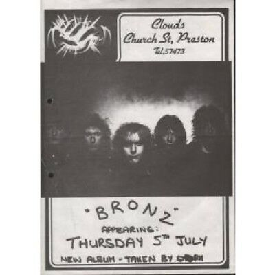 NWOBHM BRONZ Clouds, Church St, Preston FLYER UK A4 Black And White Flyer For