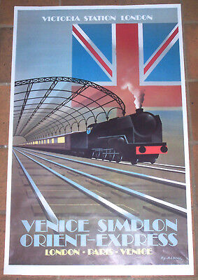 Affiche Ancienne Orient Express Train Venice Simplon Paris Fix Masseau 1981
