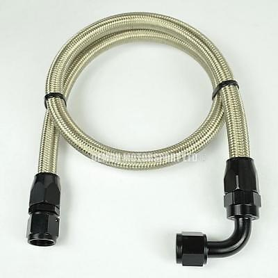 "AN10 -10 (14mm) 9/16"" Braided Hose Pre Made Assembly 91cm Oil Fuel Line (Black)"