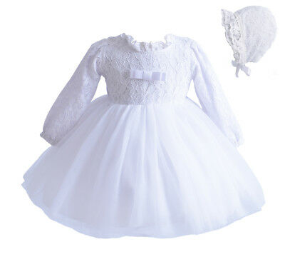 Cinda Baby Girl Long Sleeve White Lace Christening Dress with Bonnet 12-18 Month