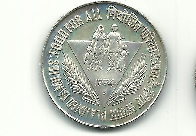 India 1974  F.a.o  50 Rupees Silver Unc Coin