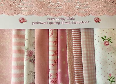LAURA ASHLEY FABRIC 80 PINKS PATCHWORK QUILTING SQUARES+iNSTRUCTIONS & TEMPLATES