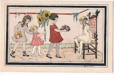 CHILDREN - BY D.S.d R. - THREE GIRLS BRINGING GIFTS TO A FOURTH, 1920s