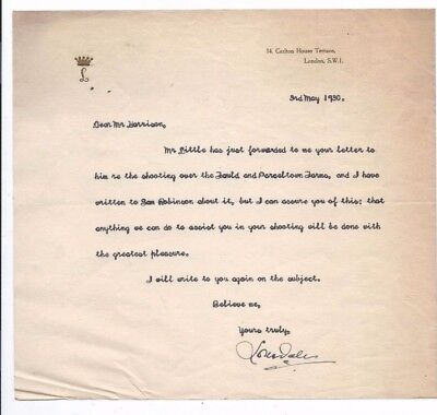 1930 Letter.Signed By Lord Lonsdale.Re Shooting,Fould & Parceltown Farms.