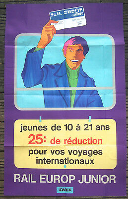 Affiche Ancienne Sncf Rail Europe Junior Circa 1960