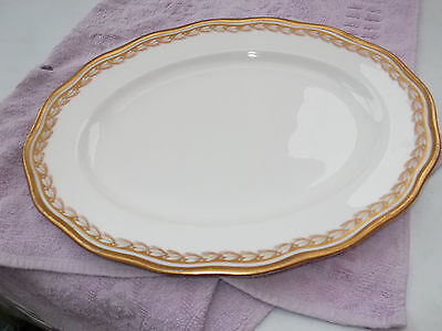?1902 -1920 Small Cauldon Oval Platter With A Gold Coloured Leaf Pattern
