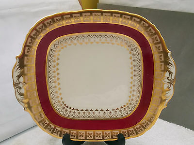 ?1870-86 Square, Twin- Handled Bread Plate By Davenport Pottery Red & Gold