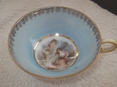 ?vintage Footed Cup Blue Band Two Women By A Fire Pattern  No Maker