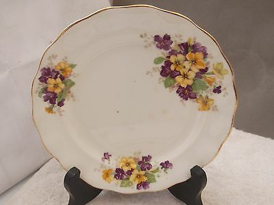 1945 - 63 Sampson Smith Old Royal China Side Plate  Purple & Yellow   Flower