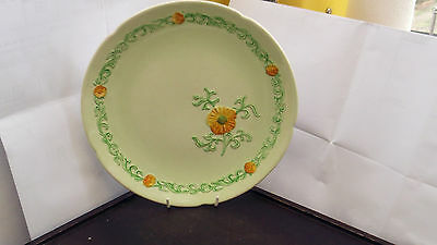 Green Carlton Ware Bread Plate And Six  Side Plates With A Small Flower Pattern