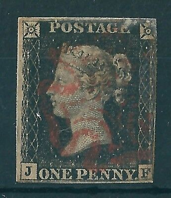 1840 1d BLACK USED RED MX LETTERS J-F