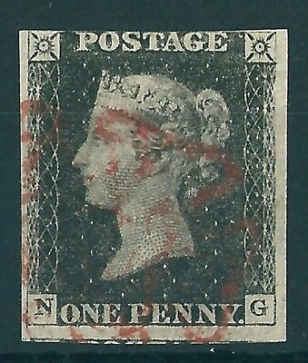 1840 1d BLACK USED RED MX LETTERS N-G