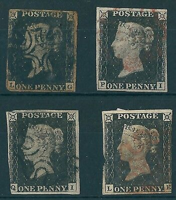 1840 1d BLACKS X4 ALL USED POOR CONDITION