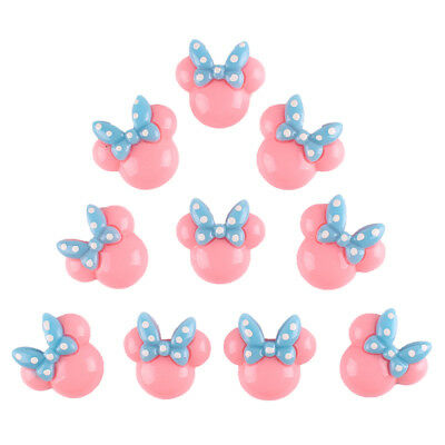 10pcs Pink Minnie Mouse With Blue Bow Resin Flatbacks Scrapbooking for Hair Bow