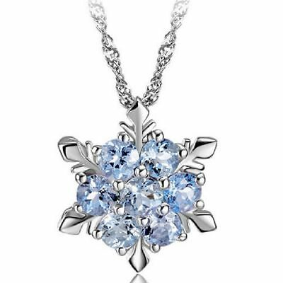 Charm Snowflake Christmas Frozen Silver Chain Necklace Crystal Pendant