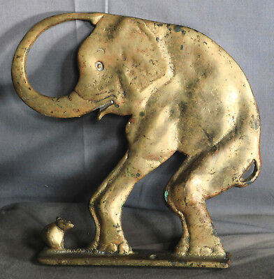 Antique CHILD'S SHOE STORE DISPLAY Cast Brass ELEPHANT Mouse FIGURE Chair Arm