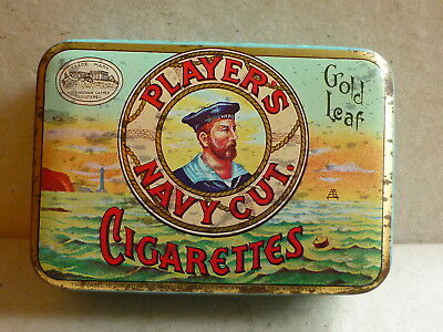 Vintage Players Navy Cut Gold Leaf Cigarette Tobacco Advertising Tin