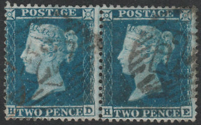 1855 SG34 2d BLUE PLATE 5 FINE USED PAIR LONDON INLAND CANCELS (HD/HE)