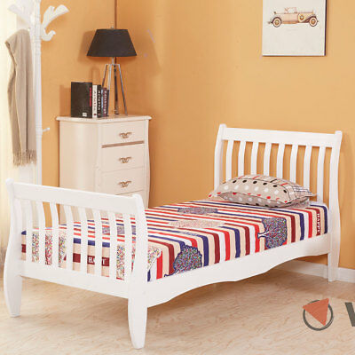 3ft Single Wooden Sleigh Bed Frame Pine Bedroom Furniture White Kids Girls Boys
