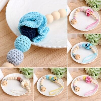 Baby Infant Toddler Dummy Pacifier Soother Nipple Flower Wood Chain Clip Holder