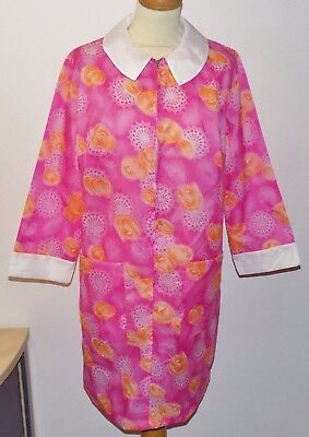 VINTAGE 1970's UNWORN LADIES PINK FLORAL RUSTLY ZIP NYLON APRON OVERALL SIZE 42""