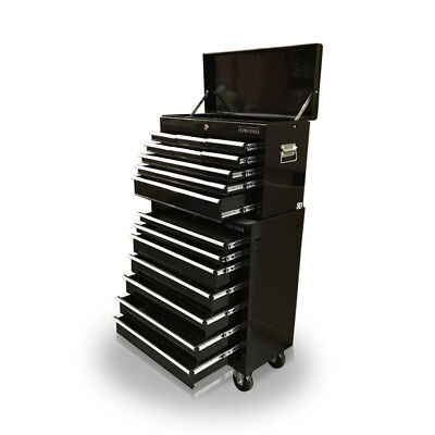 428 Tool Box Roller Cabinet Steel Chest 16 Drawers Gloss Black - Us Pro Tools