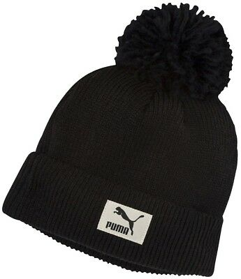 Puma Pom Pom Beanie Mens Womens Winter Bobble Hat Fashion Black