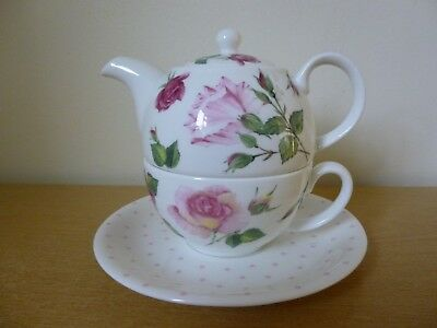 Roy Kirkham Rose du Temps Tea for 1 Tea Pot Cup & Saucer - Unused