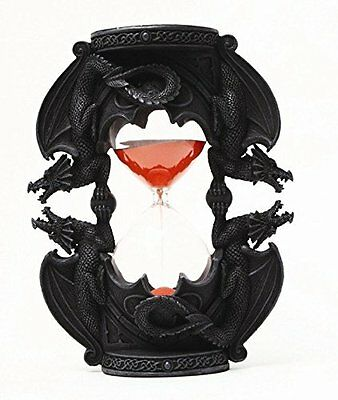 Ancient Dual Medieval Dragon Red Sand timer Hourglass TimeFigurine Statue
