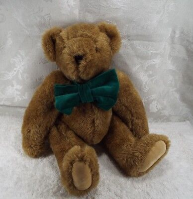 """Vermont Teddy Bear Plush Caramel Brown Green Bow Classic Jointed Limbs 16"""""""