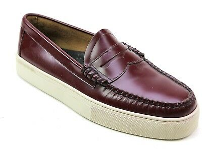 Mens Bass Weejuns Larson Burgundy Leather Casual Sneaker Loafers Shoes Uk Size 8