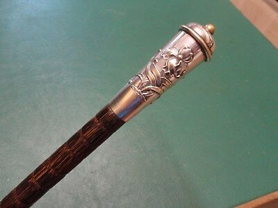 Antique/vintage Silver Plate Art Nouveau Walking Stick/cane Partridgewood Shaft