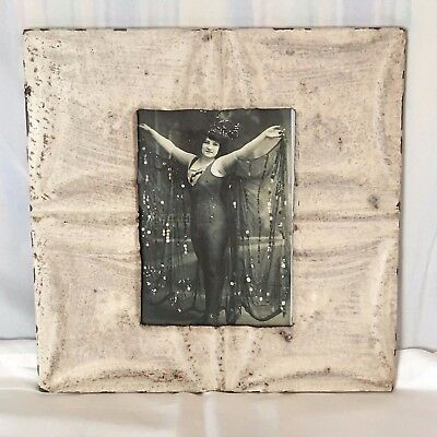 "1890's Antique Ceiling Tin Picture Frame 5"" x 7""  Ivory Metal Reclaimed 502-17"