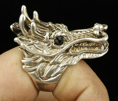 China Collectible Handwork Carving Tibet Silver Dragon Statue Ring