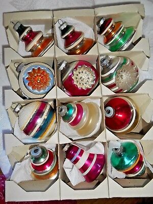 Vintage Box of 12 Shiny Brite Glass Christmas Ornaments - Indents, Mica, Ribbed