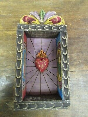 Hand Carved Colorful Retablo Sacred Heart Nicho #1-Mexican Folk Art-6x12 in