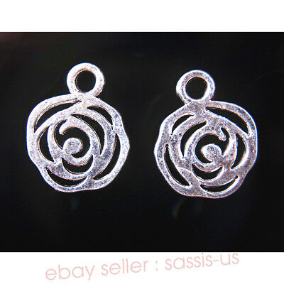 10 Pieces Rose Flower Lower Charms Tibetan Silver Metal Jewelry 17*13mm 7730A