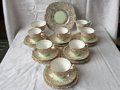 21 Piece Tea Set By Colclough China, England  -  Gold Chintz And Pale Green