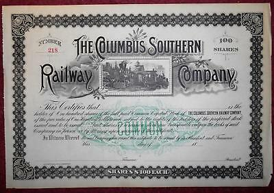 31372 USA 18-- Unissued Columbus Southern Railway 100 shares certificate