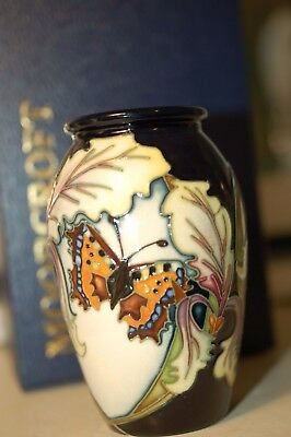Moorcroft Vase Butterfly & Leaves on Dark blue Ground 10cm Tall Dated 2006