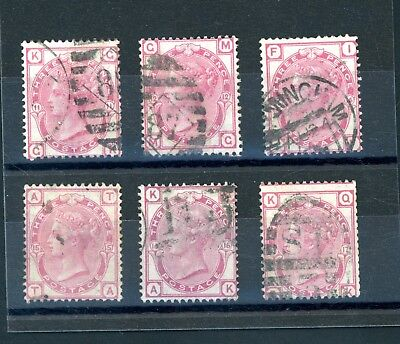 GB  Queen Victoria  3d Rose  (SG 144)  6 Different Plates    (O1269)