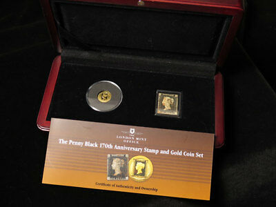 Isle of Man The Penny Black 170th Anniv. Stamp & Gold Coin Set
