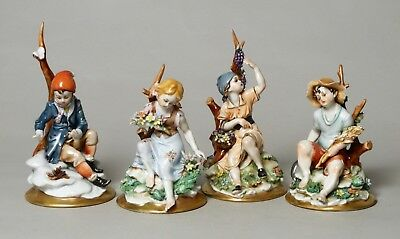 Good Set Four Vintage Capodimonte Italian Porcelain Figures, The Four Seasons