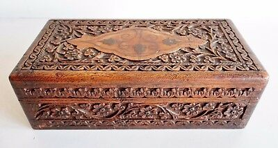 Wonderful Finely Carved Antique Wooden Box - Possibly Persian / Middle Eastern