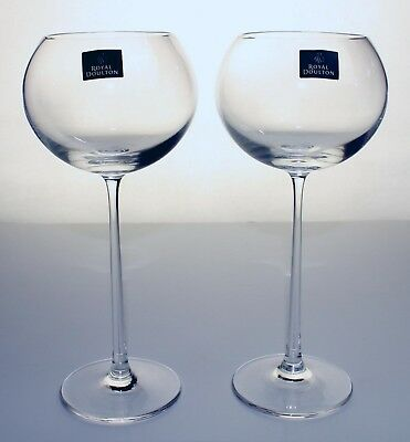 Royal Doulton 'Symmetry' Tall Wine Glasses x 2 - New Condition in Box